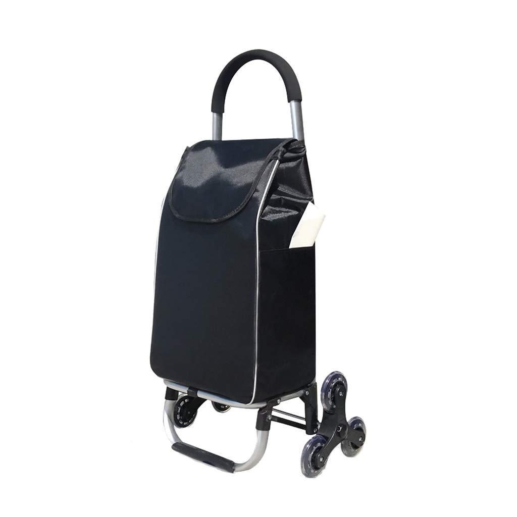 Carro De Compras De Aluminio Queドブラエルカルロポルタティル (色 : 黒) B07HN1GKTY 黒