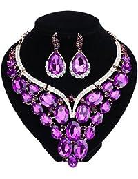 Women Bridal Rhinestone Crystal Statement Necklace...