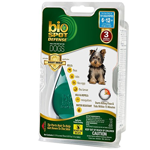 Bio Spot Defense Dog (Bio Spot Defense Flea and Tick Spot On with Applicator for Dogs 6-12-Pound- 3 Month)