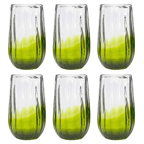 Amici Home, 7MCR069S6R, Rosa Hiball Drinking Glass, Translucent Lime Ombre, Recycled Handblown Artisanal Mexican Tabletop Glassware, 20 Ounce Capacity, Set of 6]()