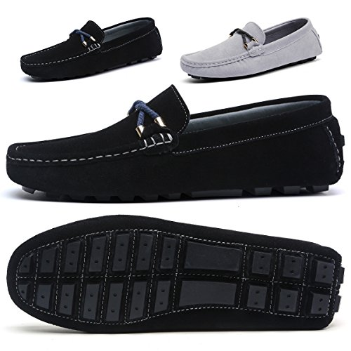 SONLLEIVOO Mens Slip On Shoes Penny Loafers Moccasin Footwear Suede Driving Leather Moccasins Flat Black Boat Shoe(Black,10.5) - Suede Loafers Shoes