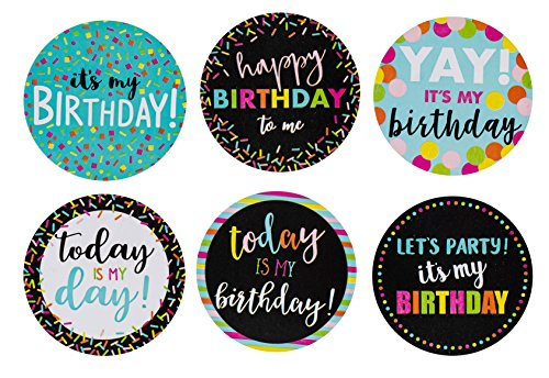 Happy Birthday to Me Stickers - 504-Piece Round It's My Birthday Label Set, Stickers Roll with 6 Assorted Designs for Teachers, Classroom, Offices, Birthday Celebration Stickers, 2 Inches Diameter ()