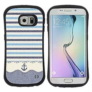 "Hypernova Slim Fit Dual Barniz Protector Caso Case Funda Para Samsung Galaxy S6 EDGE [Stripws ganchillo Tela Barco""]"
