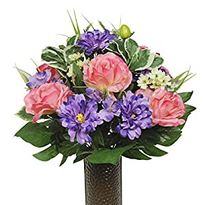Pink Rose and Purple Dahlia Mix Artificial Bouquet, featuring the Stay-In-The-Vase Design(c) Flower Holder (SM1347) 72