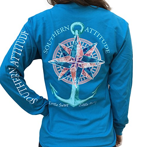 Southern Attitude Compass Rose Anchor Sapphire Blue Long Sleeve Shirt (Medium) - Womens Southern Clothing