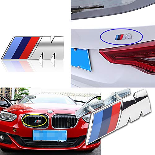 Bailunte Compatible BMW M Emblem 3D M Power Front Grill Badge and Rear Trunk Emblem Logo M Performance Emblem BMW Logo Decal Sticker for All BMW Accessories (2pcs) (M Power Grill Emblem)
