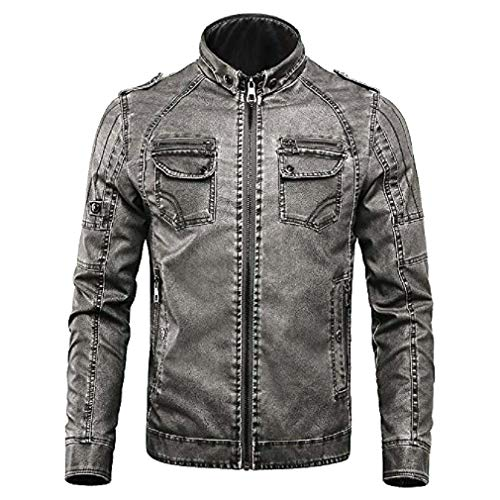 Vintage Racing Jacket Mens - YIMANIE Men's Vintage Stand Collar Pu Leather Jacket Casual Biker Motorcycle Cool Bomber Jacket Dark Grey