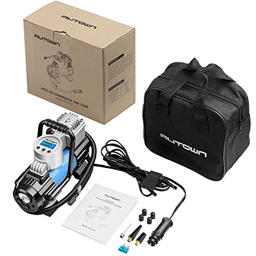 AUTOWN 12V DC Portable Air Compressor Pump, 150 PSI Auto Digital Tire Inflator with Extra Nozzle Adaptors and Fuse for Car Bike Tires and Other Automobiles. Digital Car Tire Inflator by AUTOWN (Image #6)