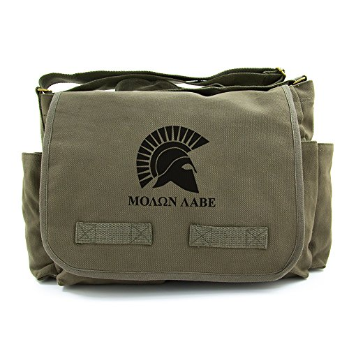 Heavyweight Canvas Messenger Shoulder Bag Molon Labe Spartan Helmet, Olive & Blk