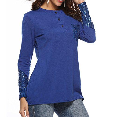 Des De Longues Tunique Vêtements Manches Garnie Lenfesh Tops Mode Bleu Gilet Pocketing À Femmes Bouton Chemises Lâches BTCqwUp