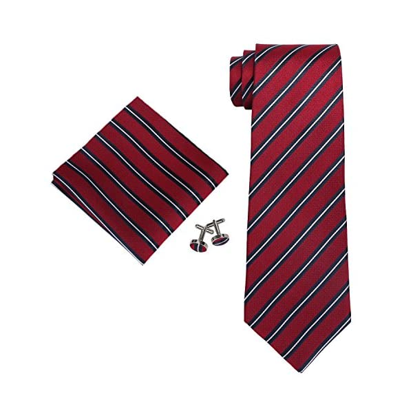 Landisun-SILK-Various-Stripes-Mens-SILK-Tie-Set-NecktieHankyCufflinks