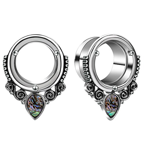 CABBE 2Pcs Sea-shell Stainless Steel Ear Tunnels Plugs Gauges Stretcher Piercing Jewelry ()