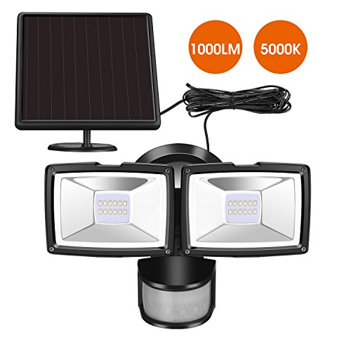 Solar Dual Head (Sunwind Solar Security Lights Solar Motion Lights Outdoor - 1000 Lumens Output Adjustable Dual Head Solar Flood Light Outdoor Waterproof for Entryways, Patio, Yard, Garage)