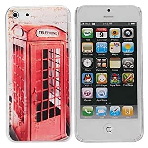 YXF Telephone Booth Painting Pattern Hard PC Case for IPhone5C