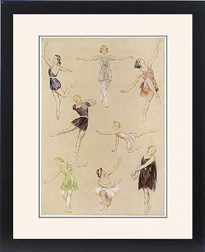 30s Dance Costumes (Framed Print of Ballet dancers exercising)
