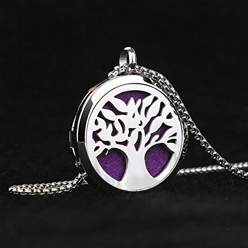 Essential Oil Diffuser Necklace Tree of Life Stainless Steel Aromatherapy Locket Pendant with Adjustable 21.5 Chain & 8 Refill Pads