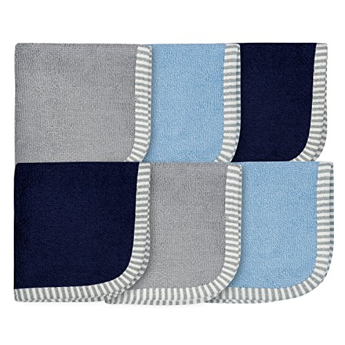 6-Pack 100% Cotton Terry Washcloths (Blue and Gray)
