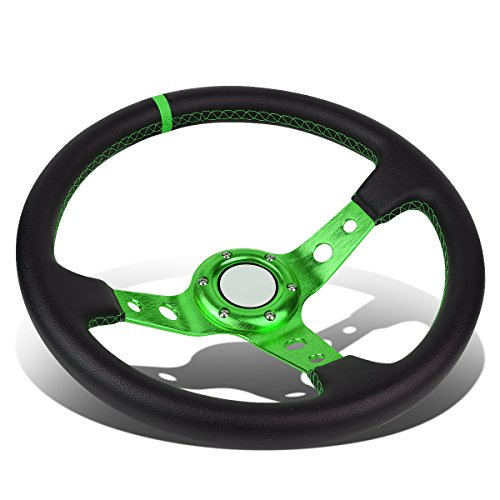 (350mm Green 6-Bolt Spoke Green Stitched PVC Leather Racing Steering Wheel)