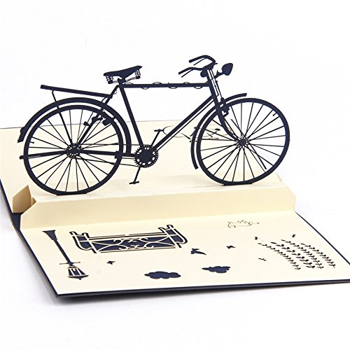 Sprinkles Gifts Laser Cut out 3D Blue Bike Bikers Biker Bicycle cyclist cycling Birthday Greeting Cards Pop Up Card & FREE Insert mini card ! (Cycling Card)