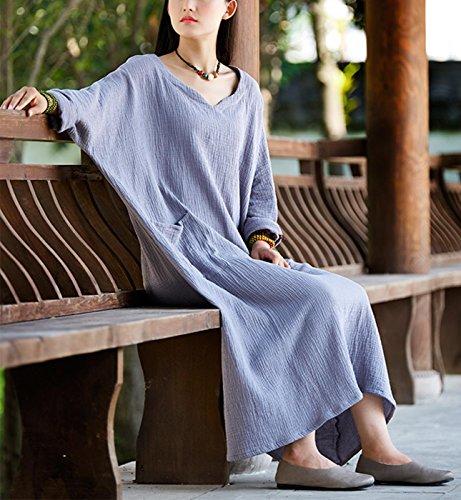 Ancho Algodón Gris Largo Vestido de Lino Vintage Flojo Suave Maxi Cherry Transpirable y Retro Happy Mujer Túnica xqafYOXw