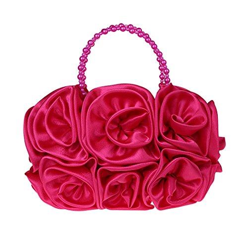 Evening Pearl Flowers Temperament Hand Zakia Women's Bag Bag Shoulder Party Rose Bag OqwpIxaxn