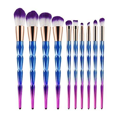 Makeup Brushes Set, 10 pcs Colorful Unicorn Diamond Cosmetic Brush Kit Kabuki Professional Foundation Powder Liquid Cream Concealer Brushes Tools