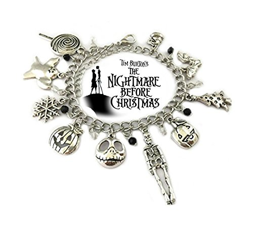 Nightmare Before Christmas 9 Themed Charms Silvertone Metal Charm Bracelet ()