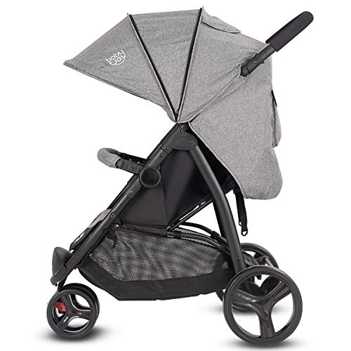BABY JOY Baby Jogger Stroller, Infant Travel Portable Jogging Stroller, Folding Pushchair w/Removable Bar, Wallet Bog, 5-Point Harness, Storage Basket, Gray