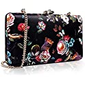 Two the Nines Women's Floral Print Satin Hardside Evening Clutch Bag