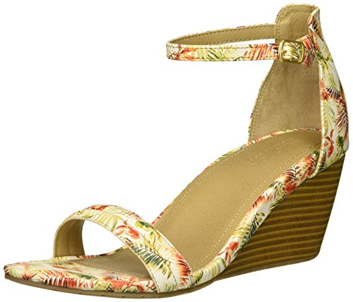 Kenneth Cole REACTION Women's 7 Cake Icing Wedge Sandal with Ankle Strap, Orange/Multi 7 M US
