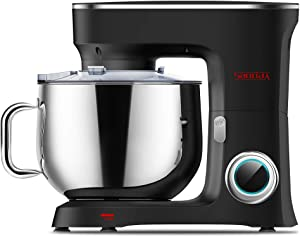 SanLidA Stand Mixer, 9.5 Qt. 10-Speed Electric Kitchen Mixer with Dishwasher-Safe Dough Hooks, Flat Beaters, Wire Whip & Pouring Shield Attachments for Most Home Cooks, SM-1551, Nero Nemesis Black