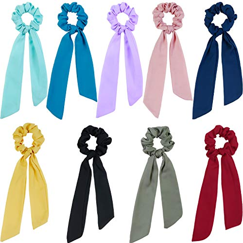 - 9 Pieces Hair Scrunchies Silk Scrunchies Hair Ponytail Holder Scrunchy Ties Hair Bands Vintage Accessories for Women Girls (Long Scarf Style-2)