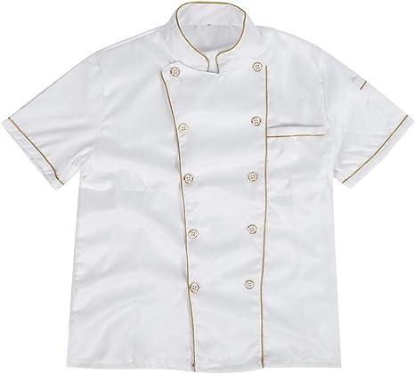 BYARSS Abrigo de Cocinero de Chef, Chaqueta de Uniforme de Chef, Abrigo de Cocinero de Manga Corta para Hombres y Mujeres(M(160-170CM))