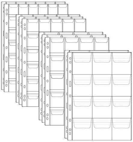 Homgaty - 10 hojas de colección de monedas de plástico, fundas protectoras de monedas con sello de página para álbum de bolígrafos, 4 tamaños 12, 20, 30 y 42 páginas de bolsillo: Amazon.es: Oficina y papelería