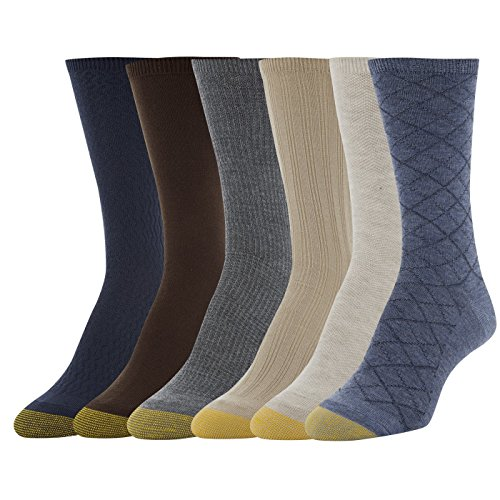 Gold Toe Women's Casual Texture Crew Socks, 6 Pairs, Denim Oatmeal Herring/Khaki Tuckstitch Ribs/Midnight Diamonds/Charcoal Plaid/Solid Chocolate, Shoe Size: 6-9