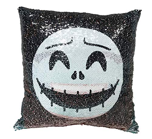 Nightmare Before Christmas Jack Skellington and Sally Sequined Pillow Cushion ()