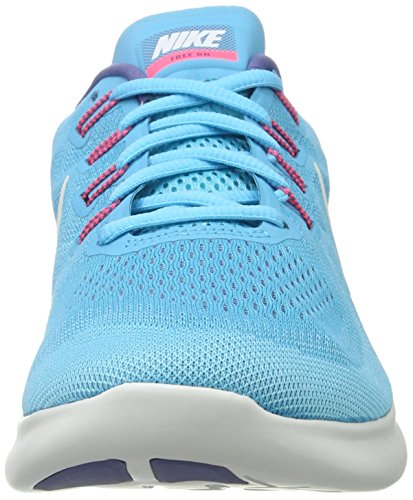 Nike Mujeres Free Rn 2017 Zapatillas De Running Cloro Blue / Off White / Polarized Blue