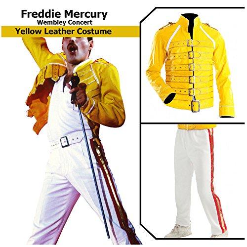 Men's Freddie Mercury Yellow Wembley Hi-Quality Faux Leather Costume Jacket