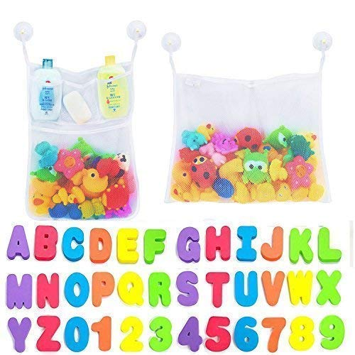 Comfylife 2 x Mesh Bath Toy Organizer + 6 Ultra Strong Hooks + 36 Bath Letters – Eco-Safe, Fun, Educational Foam Baby Bath Letters and Perfect Toy Storage Net for Baby Bath Toys & More