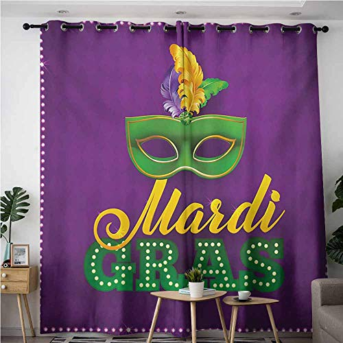 AndyTours Thermal Insulated Blackout Curtains,Mardi Gras,Curtains for Living Room,W120x96L,Purple Green Yellow