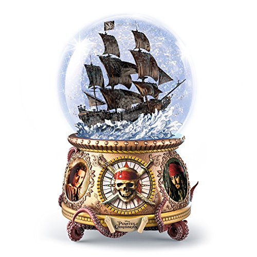 Bradford Exchange The Disney Pirates of the Caribbean Musical Glitter Globe with Black Pearl Ship Caribbean Black Pearl Ship