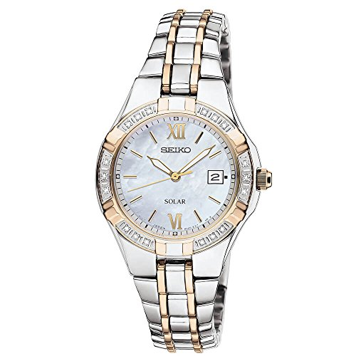 Seiko Women's Two Tone White Dial Diamond Bezel Dress ()
