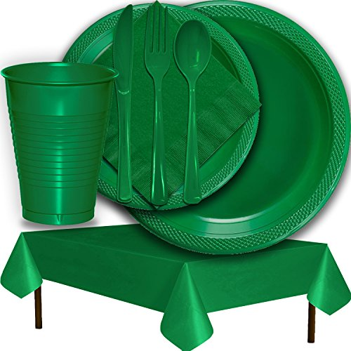 Plastic Party Supplies for 50 Guests - Emerald Green - Dinner Plates, Dessert Plates, Cups, Lunch Napkins, Cutlery, and Tablecloths - Premium Quality Tableware Set
