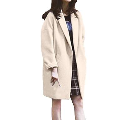 FRAUIT Jacke Wollmantel Damen Trenchcoat Damen Gothic Kleidung Strickjacke  Frauen Mädchen Lässige Jacke Herbst Winterjacke Langarm Frauen Mantel Lose  ... 86d2227af1
