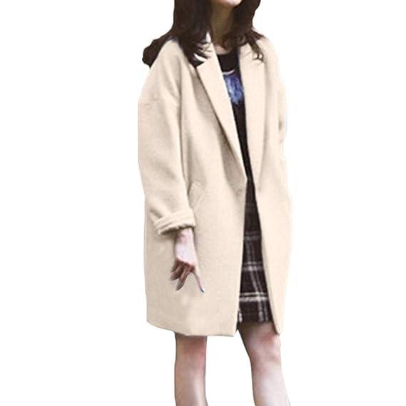 Btruely Wollmantel Damen Lange Outdoorjacke Slim Fit Oberbekleidung Frauen Mantel Groß Größ Wintermantel Verdicken Trenchcoat