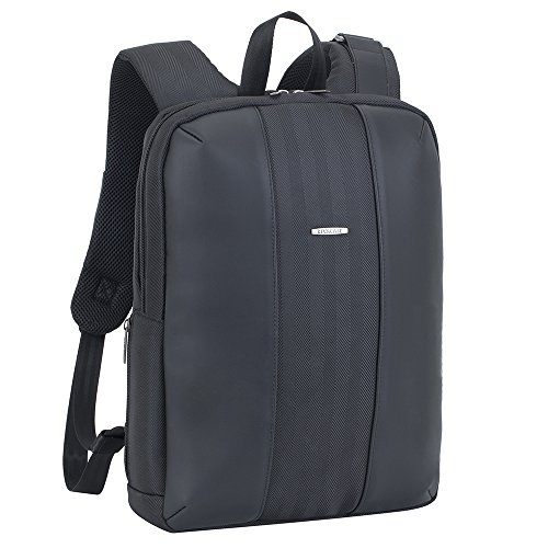 Tweed Tab (Rivacase 8125 14 Inch Anti Theft Backpack – Unisex Business Travel Laptop Tablet Back Pack – Waterproof Tweed Bag with Airport Friendly Gadget Compartments and Ventilated Shoulder Straps – Charcoal)