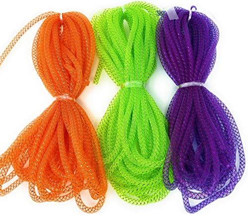 Halloween Metallic Deco Mesh Tubing Ribbon 15 Yards (Pack of 3) (Purple, Lime, Orange)