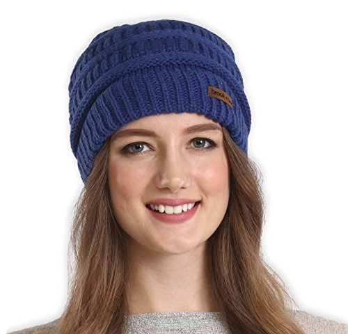 Brook + Bay Cable Knit Multicolored Beanie by Stay Warm & Stylish this Winter - Thick, Soft & Chunky Beanie Hats for Women & Men - Serious Beanies for Serious Style (Navy Blue) (Navy Blue Ski)