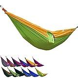 Portable Camping Nylon Fabric Outdoor Travel Parachute Hammock, Yellow+Green Single/91*36Inch(230*100Cm)