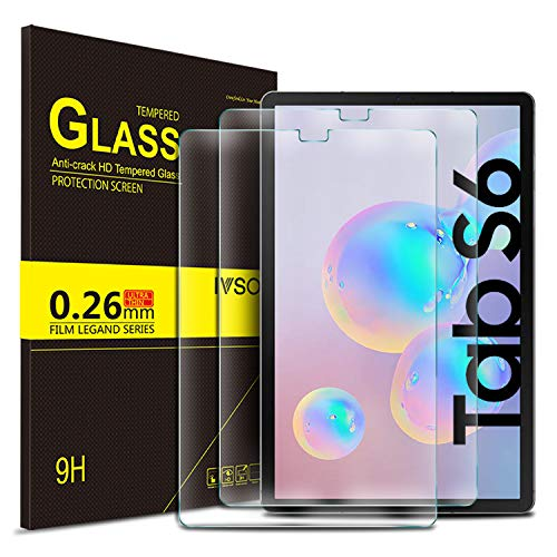 IVSO 2 Pack-Screen Protector for Samsung Galaxy TAB S6/S5e,No-Bubble HD Clear Tempered Glass Screen Protector for Samsung Galaxy Tab S6 (2019) SM-T860/SM-T865 Tablet (10.5 Inch)